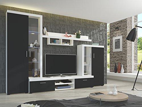 Wohnwand Wohnzimmer Set schwarz weiß Möbel Schrank Lowboard Regal Vitrine NEU LERIDA