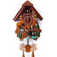 ZHGI Musical orologio cucù in legno vogue europeo soggiorno orologi carillon silent bird grafici per parete,un