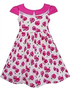Mädchen Kleid Rose Blume Ablehnen Kragen Schnüren Rosa