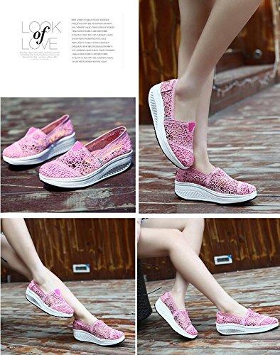 Scarpe da piattaforme donne pattini ad altezze d'aria del cotone d'aria del merletto di estate Vintage moda traspirante e leggero Pink