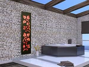 Badheizkörper Design Leaves 3 + LED, HxB: 180 x 47 cm, 1118 Watt, weiß / dunkelgrau (metallic) mit LED, HxB:-Beleuchtung, Mittelanschluß (Marke: Szagato) Made in Germany / Top-verarbeiteter Bad und Wohnraum-Heizkörper (Mittelanschluss)