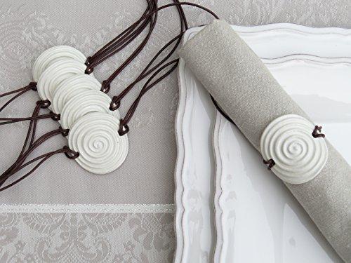 6er Set Keramik Serviettenringe Serviettenhalter Weiß