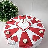 Hochzeitsgeschenk - Schachteltorte ROT-WEISS m. Herzen & Rosen - Geldgeschenk, Geschenkidee Hochzeit