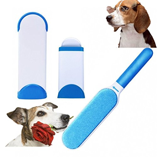 Pet Spazzola Fur Brush Lint Remover Double Face Riutilizzabile With Self-Cleaning Base Travel Size per Gatti Cani Cloth (Blu)