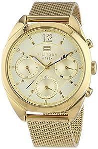 Tommy Hilfiger Watches MIA - Reloj Analógico de Cuarzo para Mujer, correa de Acero inoxidable chapado color Dorado