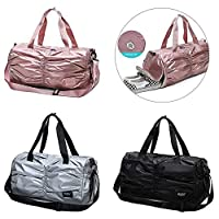 asterisknewly Unisex Sports Bag Solid Color Pleated Independent Shoe Warehouse Large Capacity Fitness Bag for Fitness/Travel/Outdoor