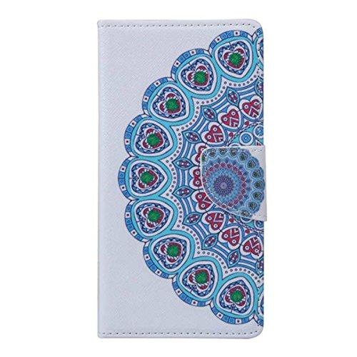 Etche Schutzhülle für iPhone 6/6S Plus 5.5 Zoll Ledertasche,iPhone 6/6S Plus 5.5 Zoll HandyHülle bunt Muster,iPhone 6/6S Plus 5.5 Zoll wallet Schutzhülle, niedlich bunt kreativ hübsch Blumen Flip Cove blau Blumen