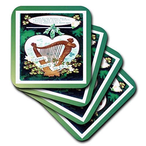 3dRose CST 37395_ 3Irish Vintage Karte mit Harfe Keramik Fliesen Untersetzer (Set von 4)