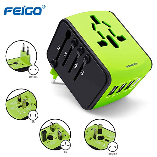 FEIGO Universal Reiseadapter Mini Travel Adapter (US UK AU EU) Ladestecker mit 3 USB Ports und Type C International Ladegerät Sicherheit AC Steckdose Grün Mini Travel Ac Adapter