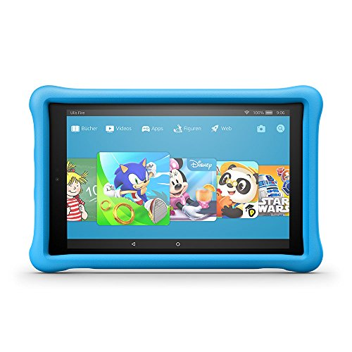 Produktbild Fire HD 10 Kids Edition-Tablet, 25,65 cm (10,1 Zoll) 1080p Full HD-Display, 32 GB, blaue kindgerechte Hülle