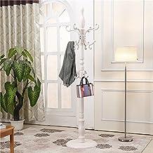 ZJM- Sombrero de madera y ropa de pie tipo de suelo ropa árbol montar perchero 195cm ( Color : Blanco )