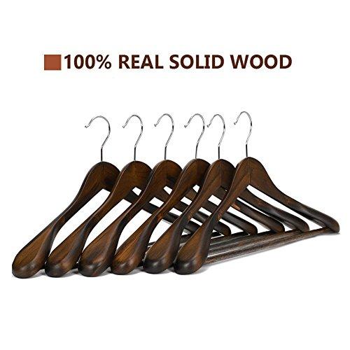 J. S. Kleiderbügel aus Holz von dem Guger Baum, extra breiten Schulter Anzug Kleiderbügel, Holz Kleiderbügel für Mantel und Hose, Retro-Finish, 5 Stück