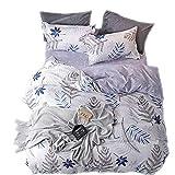 Sticker superb 200x200cm Natur Blumen Blätter Bettwäsche Set, Luxus Herbst Winter Warm Bettbezug Set mit Kissenbezug (Blatt 1-Weißer Hintergrund, 200_x_200_cm)
