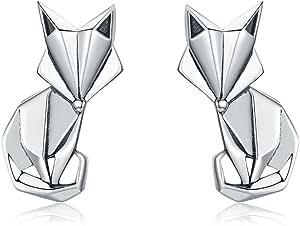 GDDX - Orecchini a perno da donna, in argento Sterling 925, a forma di volpe