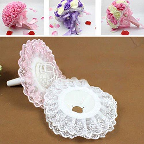 Sukisuki 2pcs bordo in pizzo da sposa bouquet di fiori maniglia porta collare decor, plastica, pink, 2pcs