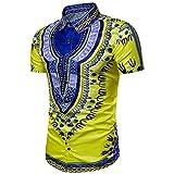 Camisetas ÉTnica Hombre Hipster LHWY, Camisetas Ajustados con Estampado De Africano Camisas De Cuello Redondo Manga Corto Verano (Amarillo, XL)