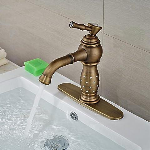 Modylee ottone antico corpo di cristallo bacino del bagno rubinetto lavello con rubinetto ponte montato 8 ntique brass Crystal Body bathroom basin faucet On sink faucet with deck mounted 8