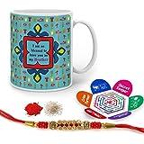 Raksha Bandhan Rakhi Gifts Hamper Designer Crystal Rakhi For Brother & Happy Raksha Bandhan Greeting Card Blessed To Have You As My Bro Quote Printed Blue Mug 325 Ml - Gift For Bhai Bhaiya On His Birthday Anniversary Bhaidooj