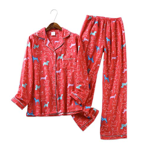 HIUGHJ Pyjamas Roter Hund niedlich 100% gebürstete Baumwollpyjamas der Vier Jahreszeiten der weichen Pyjamas der Frauen Hausservice - Paare Kostüm Für Weihnachten