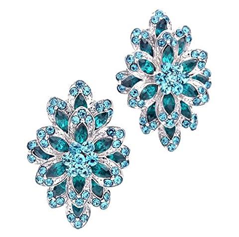 Statement Glamour Belle stufige Boucles d'oreille clips Clip On Clips Boucles d'oreilles Cristal Bleu