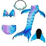 COZY HUT Mädchen Bikini Badeanzüge Schönere Meerjungfrauenschwanz zum Schwimmen mit Meerjungfrau Flosse Schwimmen Kostüm Schwanzflosse, 5 Stück Set