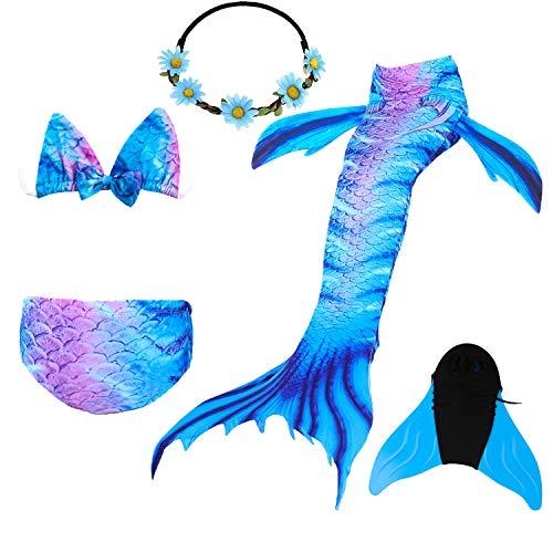 80 Superstar Kostüm - COZY HUT Mädchen Bikini Badeanzüge Schönere Meerjungfrauenschwanz zum Schwimmen mit Meerjungfrau Flosse Schwimmen Kostüm Schwanzflosse, 5 Stück Set