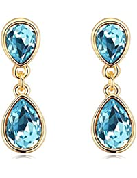 NEVI Stylish Modern Swarovski Crystals 18K Gold Plated Danglers Earrings Jewellery For Women And Girls