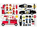 34 piece Police Fire Brigade Wall Sticker Set for Children's Bedroom Baby Nursery by plot4u 4x 16x26cm