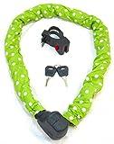 Kettenschloss grün / weiße Punkte mit Schlüssel und Halterung