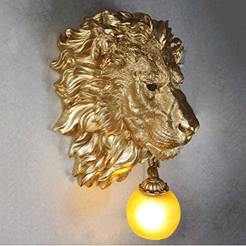 YUI Nordeuropäischer und amerikanischer Stil Stereo Carving Bossy Lion Head Wall Lamp Bar Individuelle Creative Living Room Hall Wall Lamp Stil Stereo