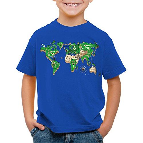 style3 Mario Weltkarte T-Shirt für Kinder super videospiel konsole snes n64, Größe:104