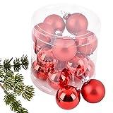 Dadeldo Weihnachtskugel Premium 15er Set Glas 3cm Xmas Baumschmuck (Rot)