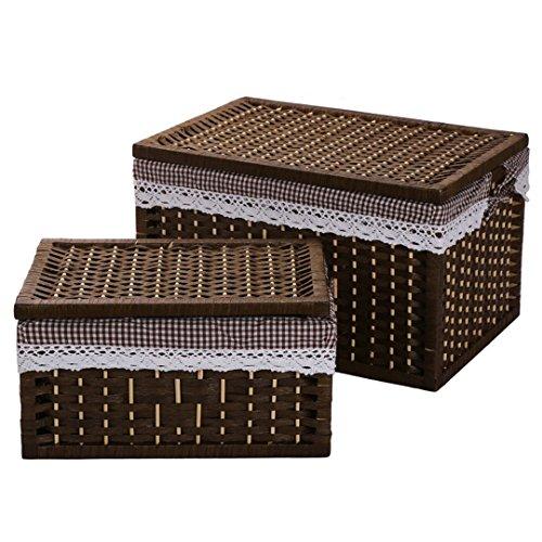 SHOUNALAIN Wäschekorb Aufbewahrungskörbe Container Papier Seil Tuch Storage Rechteckiger Korb mit Deckel Dekorative Holz Sortimentskästen 1 Gesetzt (Schublade-storage-bett 12)