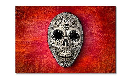 WandbilderXXL® Gedrucktes Leinwandbild Skull On Red 60x40cm - afrikanische Masken und Sugar Sculls. Top Style für Deine 4 Wände