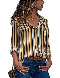 6ddb5cf585 Aranmei Blusa Mujer Chiffon Camisa De Manga Larga Elegante Colorido a Rayas  Cuello V Camisas (