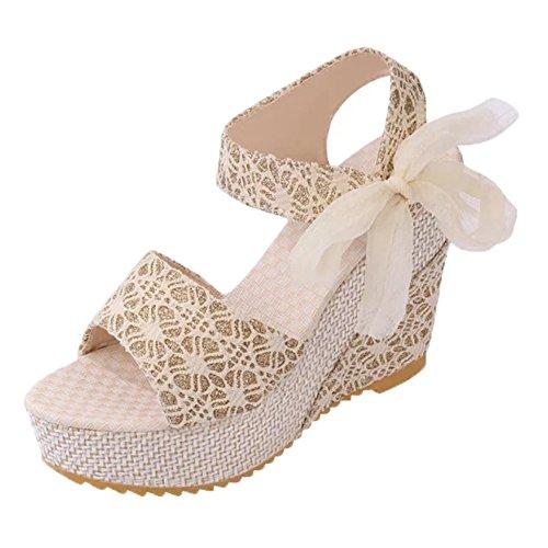 Minetom Femme Elégant Plateformes Semelle Compensée Sandales Peep Toe Chaussures Talon Haut Chaussons Flip Flops Tongs Abricot