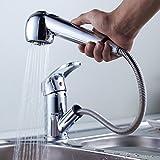Auralum® alta pressione singola leva - rubinetto del lavandino con doccetta Miscelatore cromato rubinetto della cucina estraibile rubinetto singolo rubinetto miscelatore monocomando