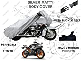 #2: Volga Silver Bike Body Cover With Mirror Pocket For Ktm Rc 200