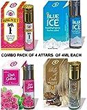 Parag Fragrances Combo Of Magnet Attar 4Ml, Blue Ice Attar 4Ml, Ruh Gulab Attar 4Ml & White Oud Attar 4Ml