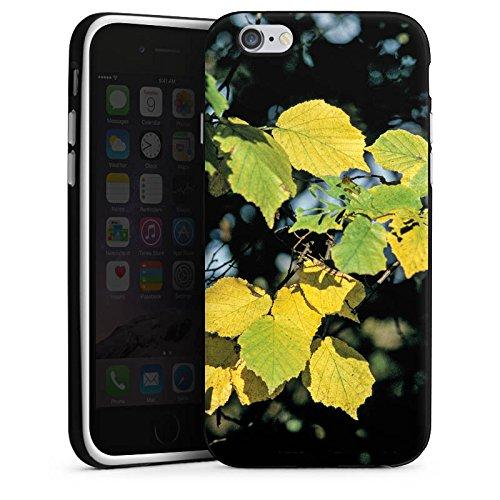 Apple iPhone 5s Housse Étui Protection Coque Feuilles Automne Bouleau Housse en silicone noir / blanc