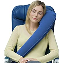 Travelrest - Ultimate Travel Pillow - Ergonomic - Lean Into It To Sleep - Fall Asleep Faster, Stay Asleep Longer (Rolls Up Small) (Blue)