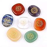 Royal Zafiro Chakra Piedras - Reiki Cristal de curación con Grabado Chakra símbolos Holistic Balancing Pulido Palm Stones Set de 7