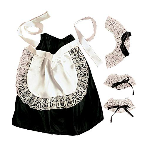 Widmann 6665C - Kostümset Hausmädchen, Kopf-, Hals- und Handgelenkschmuck, Rock und Schürze, Einheitsgröße (Weiße Schürze Kostüm)