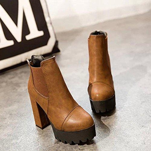 Tacco stivali Martin alto scarpe piattaforma scarpe alto Donna pelle Marrone   e2841f