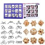 BOROK Rompecabezas Metal, 24Pack 3D Puzzles Adultos Juegos de Ingenio (9xMadera +15xMetal) Juegos de Mesa Juego IQ Juguete Educativos Habilidad Juego Logica Calendario de Adviento Niños