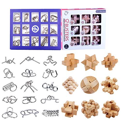 15000P 24Pack Casse-tête Métal Puzzle 3D Brainteaser Bois...