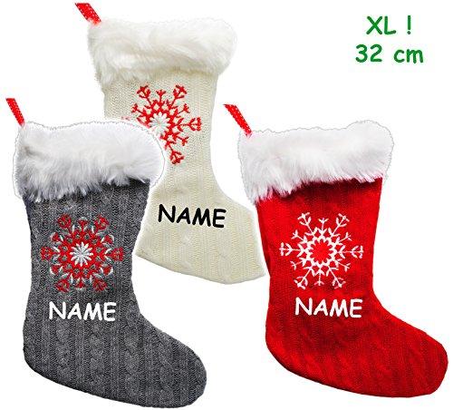"""1 Stück _ XL - Weihnachtssocke & Filzstrumpf - """" 3-D Effekt - Schneeflocke - STRICK - bunter Farbmix """" - incl. Name - 32 cm - Nikolausstiefel - Nikolausstrumpf / Weihnachtsstiefel - großer Geschenke Strumpf - Weihnachten - Dekosocke / Dekostrumpf - Weihnachtsstrumpf / Beutel zum selbst Befüllen & Aufhängen - Weihnachtssocken - Kamin Filzschuh Filzstiefel - Geschenkesack - Weihnachtsdeko / Geschenkverpackung - Nikolaussocke - Socke Strümpfe / Geschenkestiefel - Weihnachtsmann - Schneeflocken"""