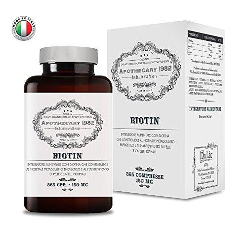 Apothecary 1982 - Biotina + Zinco + Selenio - 365 compresse - ALTO DOSAGGIO - Per la crescita di capelli e unghie - 100% Made in Italy