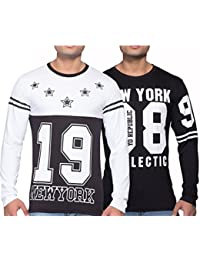 Yo Republic Mens Cotton Tshirt Combo Offer(Pack of 2)(AT-0371-1 S_White_Black_Small)