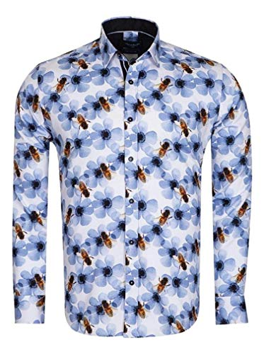 3c303a37f7 Oscar Banks Men's Pure Cotton Floral Wasp Print Shirt SL6715 (XXL)